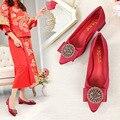 Chinesischen Stil Ehe Schuhe Wein Rot Menschen Verursachten Diamant Chunky High Heel Wies Xiu Schuhe Braut Schuhe Hochzeit Schuhe Rot Schuhe W