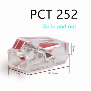 5/10pcs pct-252 / 253 / 254 / 255 quick push terminal block compact wire connector 2 / 3 / 4 / 5p plug in short circuit terminal image