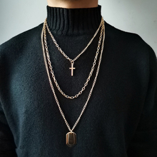 цена на Luokey Unisex Gothic Street Style Hiphop Rock Pendant Necklace For Women Men Layered Sweater Chain Cross Choker Necklace Jewelry