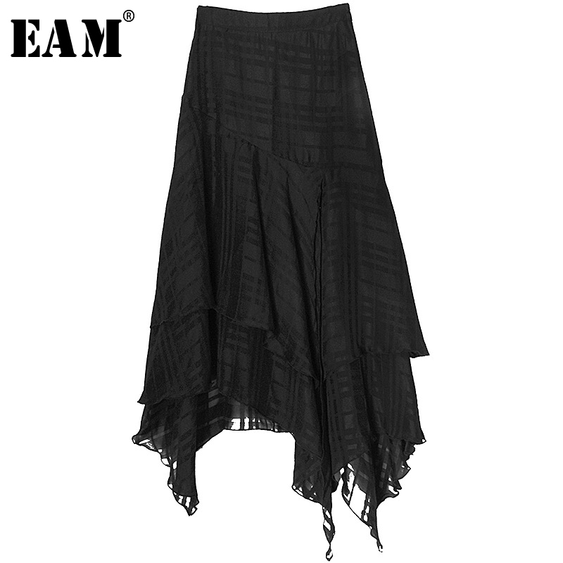 [EAM] High Waist Black Asymmetrical Layers Split Joint Plaid Half-body Skirt Women Fashion Tide New Spring Autumn 2020 1S445