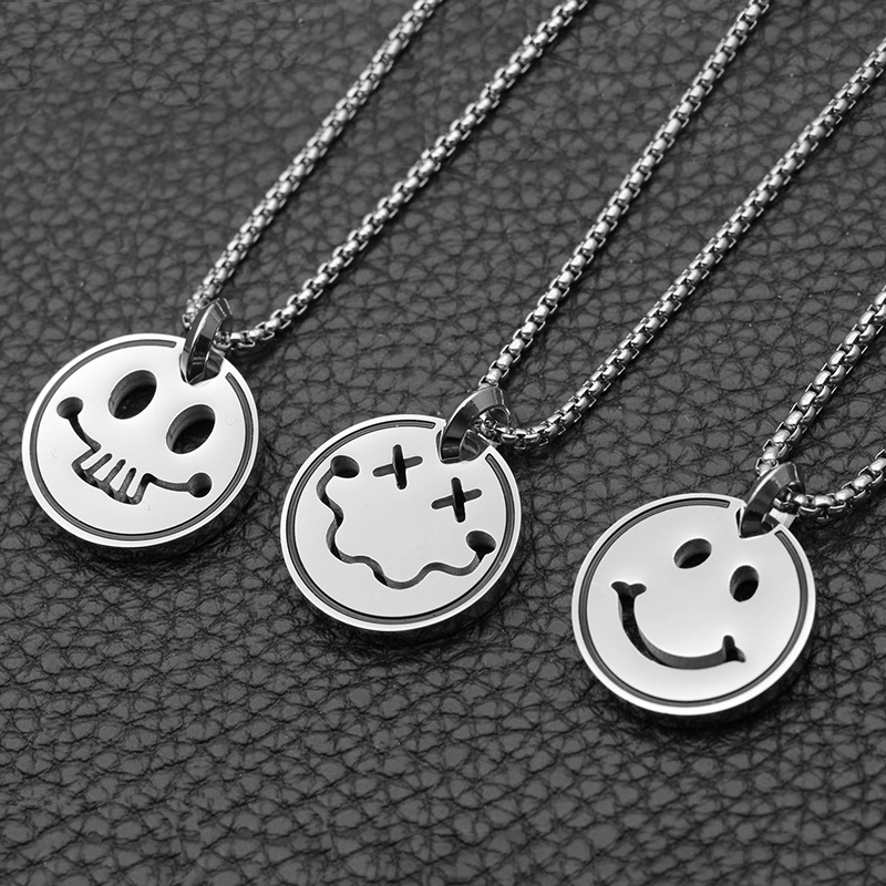 mens necklaces stainless steel star Smiley pendants round male accessories hip hop Steel color necklace chains jewelry the neck