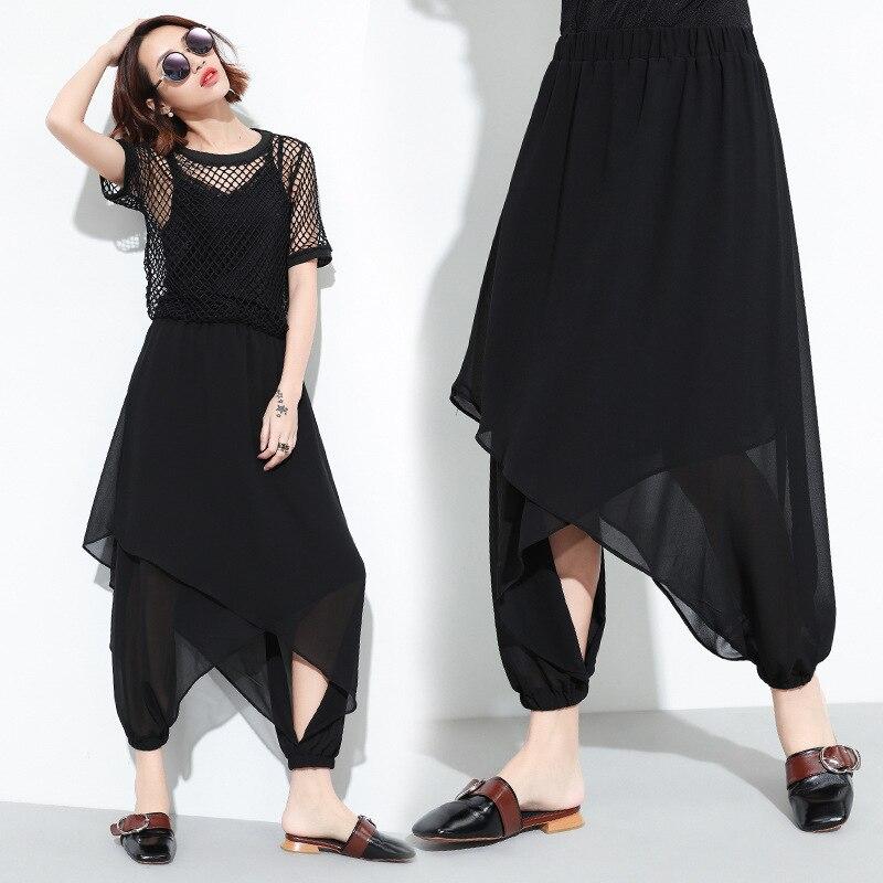 Шифоновые брюки женские летние 2020 новые свободные поддельные две части нерегулярные девять очков большие брюки юбка сетчатые брюки для жен
