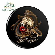 EARLFAMILY 13cm x 13cm for Bad To The Bone Skull Snake Biker Motorcycle Western Pinback Car Stickers and Decals Waterproof