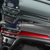 For Honda Accord 10th 2018 2019 Inner Central Instrument Control Console Strip Cover Trim Frame Molding ABS Chrome Car Accessory