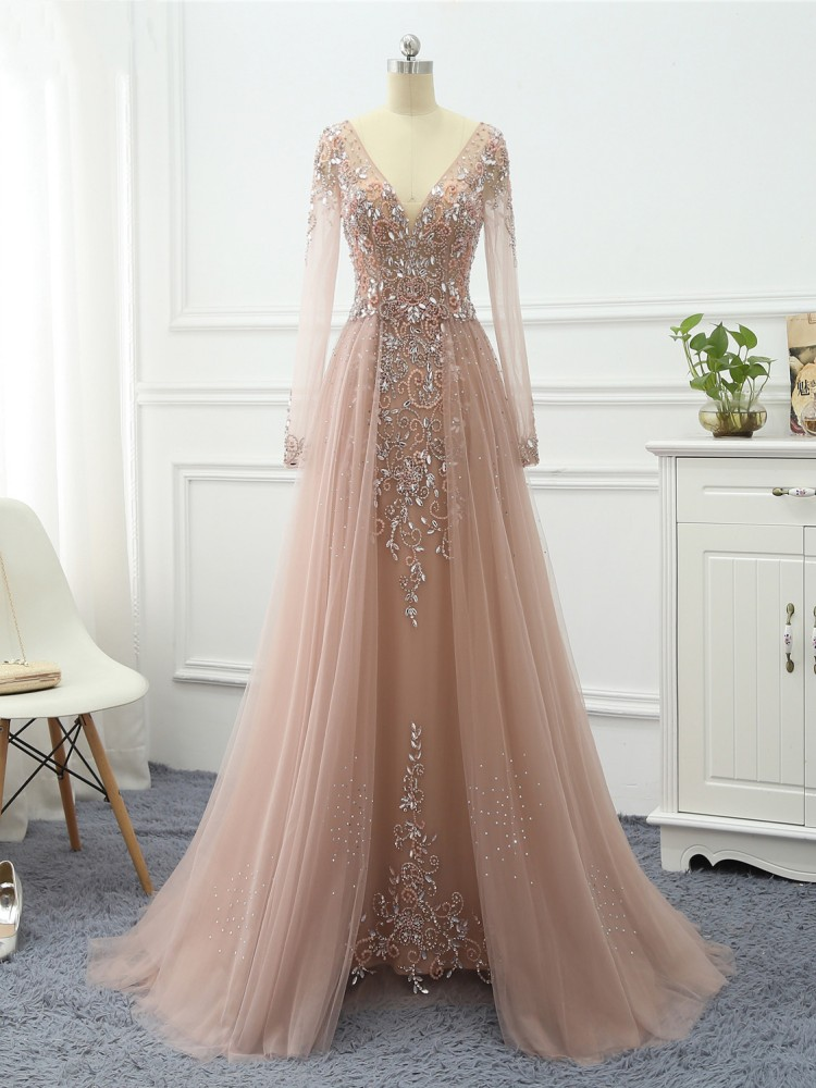 Erosebridal Formal Dresses Evening-Gowns Long-Sleeve Elegant Women A-Line with Train