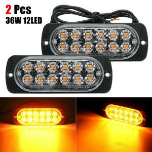 2PCS Amber 12 LED 36W Warning Lamp Light Bar Car Truck Hazard Beacon Plastics Light 6500k Waterproof Headlight For Most Vehicles
