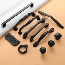 Czarne uchwyty meblowe drzwi szufladowe uchwyty gałki aluminiowe szuflady ciągnie szafka na szafka uchwyty kuchenne gałki