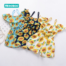 Medoboo Baby Girl Summer Clothes Cotton Jumpsuit Overalls for Children Strap Sleeveless Costume Set Child Romper