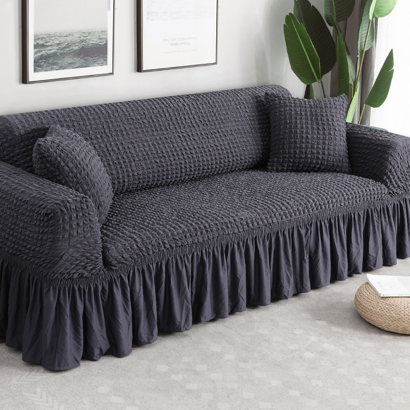 Capa de sofá de sofá de cor sólida elástica para sala de estar impresso xadrez estiramento secional slipcovers sofá capa l forma 1-4-seater