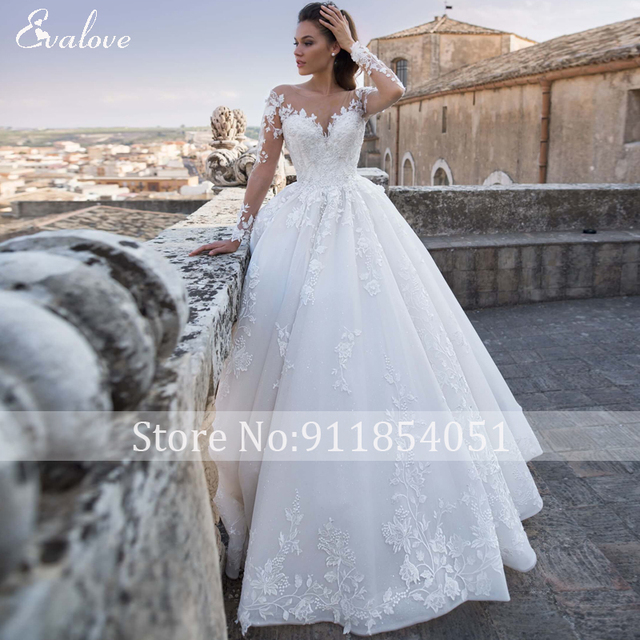EVALOVE Luxury Scoop Neck Lace Up Beading A-Line Wedding Dress Gorgeous Long Sleeve Appliques Sparkly Tulle Vintage Bridal Gown 3