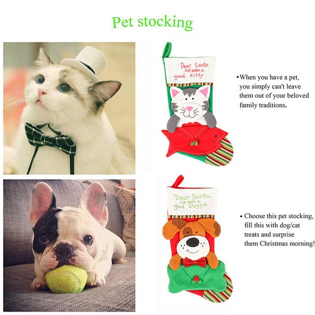 Christmas Stockings Socks Cat Dog Elk Navidad New Year Candy Bag Christmas Decorations Xmas Tree Ornaments Party Kids Gift Bags