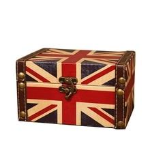 Fácil-maleta decorativa Vintage pequeña caja de madera Retro caja de almacenamiento de escritorio caja de almacenamiento acabado Muhe joyero