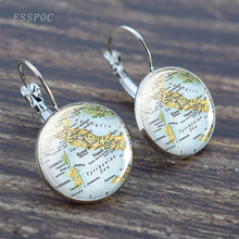 Europe Countries Map Glass Hook Earrings Italy France Scotland Poland Fashion Souvenir Jewelry Gift For Women Men