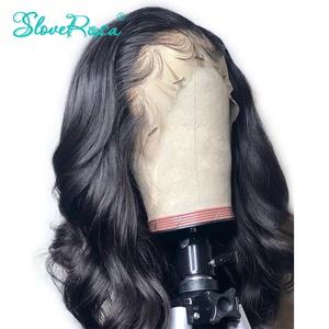 13x4 Body Wave Brazilian Remy Hair 130% Density Lace Front Human Hair Wigs For Black Women Bleached Knots Baby Hair Slove Rosa(China)