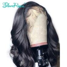 13x4 vücut dalga brezilyalı Remy saç 130% yoğunluk dantel ön İnsan saç siyah kadınlar için peruk ağartılmış knot bebek saç çözmek Rosa