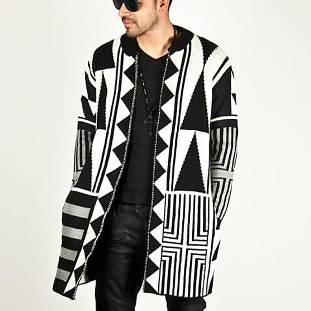 New 2020 Autumn winter Casual long style hip hop street men's sweater black and white gray color matching sweater cardigan coat