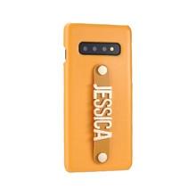 Para samsung galaxy s8 s9 s10 plus nota 8 9 a50 caso do telefone de couro personalizado segurando cinta ouro nome metal texto telefone funda coque