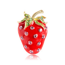 Creative new fashion fruit brooch summer fresh and lovely strawberry drop corsage factory direct stock