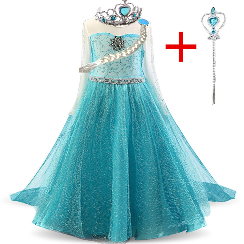 Vestido de princesa Anna Elsa vestido de fiesta de noche de cumpleaños para niñas disfraz de Halloween para niñas vestido de Navidad 4 5 6 7 8 9 10 años