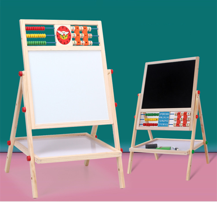 Children Early Education Magnetic Drawing Board Kids Vertical Type Double-Sided Blackboard With Alarm Clock Zhu Suan Jia Height