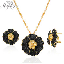 Mytys Gold Chain Black Flower Jewelry Sets Vintage Statement Large Metal Earring Necklace Sets Fashion Jewelry Gifts CE618 CN541(China)