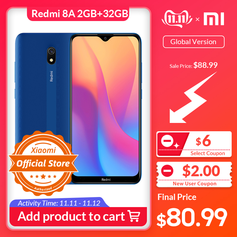 "Global Version Xiaomi Redmi 8A Smartphone 2GB 32GB 5000mAh High Capacity Battery 6.22"" Display 12MP AI Primary Camera 18W Charge"
