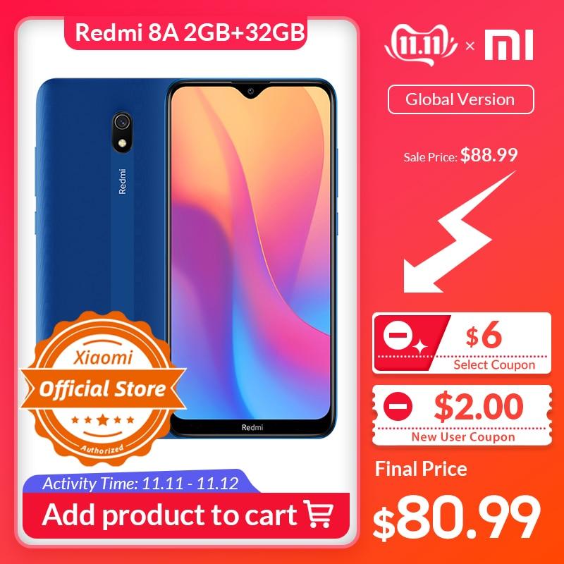 "Global Version Xiaomi Redmi 8A Smartphone 2GB 32GB 5000mAh High Capacity Battery 6.22"" Display 12MP AI Primary Camera 18W Charge"