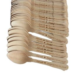 Personalized Eco-friendly Mini Wood Spoons Engagement Bridal Shower Buffet Table Decor Engraved Wedding Favors Font Choice