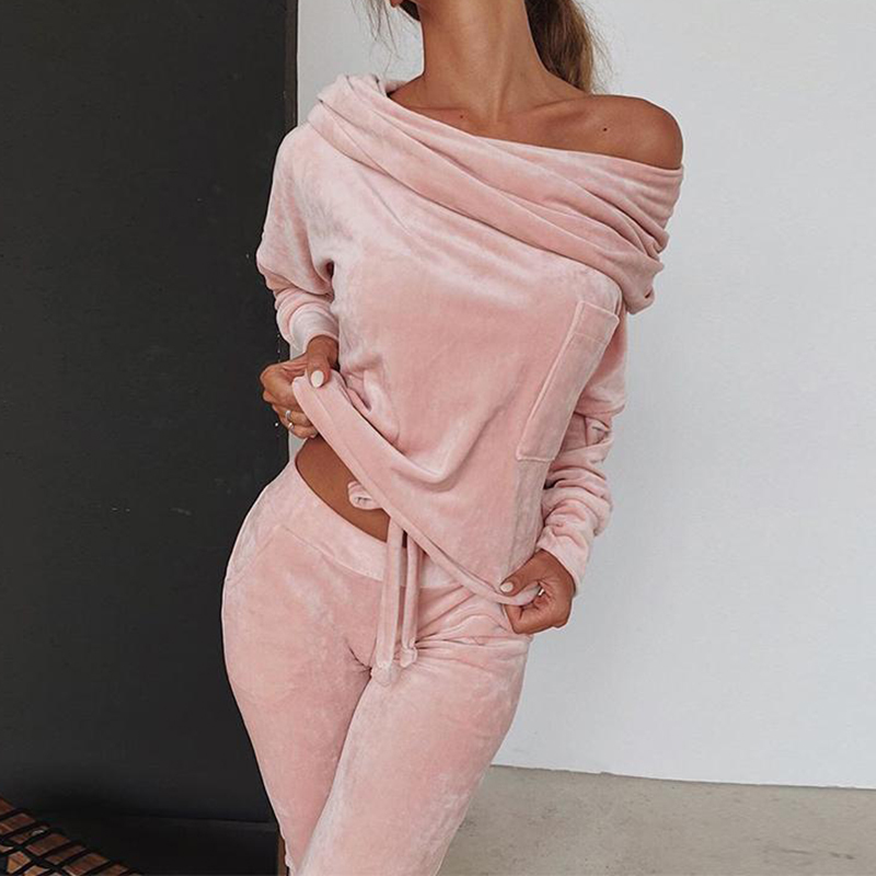 2020 Velvet Pink 2 Piece Set Tracksuit For Women Outfits Top And Pant Trouser Suit Off Shoulder Matching Loose Warm Clothing