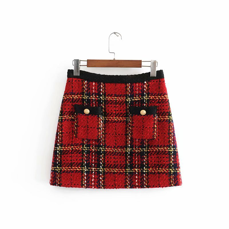 Women Elegant Tweed Patchwork Plaid Mini Skirt Back Zipper Pockets Decorate Office Wear Female Stylish Skirts