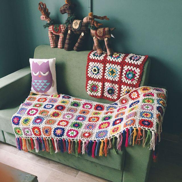 Marguerite à la main à tricoter à la main crochet rétro glands couverture feutre baie fenêtre banket moderne vintage mexicain couverture