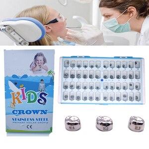 1 коробка 48 шт. зубные предварительно формованные Детские основные молярные короны из нержавеющей стали временные короны стоматологически...