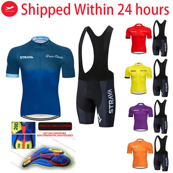 2020 STRAVA Pro Team summer cycling Jersey set Bicycle Clothing Breathable Men Short Sleeve shirt Bike bib shorts 20D Gel pad - discount item  50% OFF Cycling