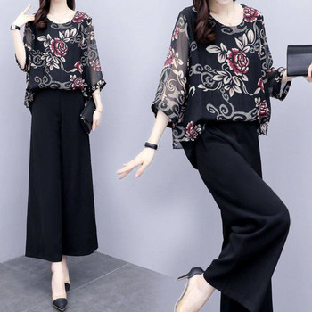 цена на Black Wide-leg Pants Suit Women Summer Two-piece Set Female Fashion Plus Size Printed Chiffon Top Wide-leg Pants S 5XL