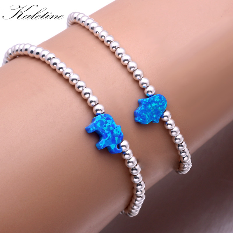 KALETINE Luxury Elastic String Opal Hamsa Hand of Fatima Elephant 925 Sterling Silver Bead Bracelets For Women Men