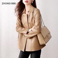 genuine leather coat Khaki women's short sheepskin regular style drawstring square collar small leather coat