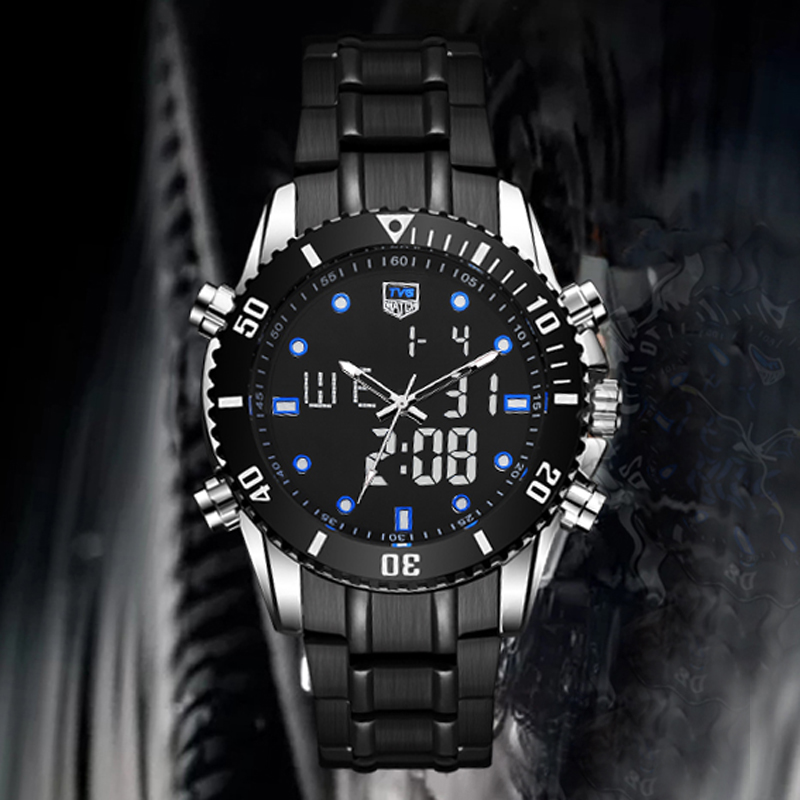 Luxury Brand TVG Watches Men Sports Watches Stainless Steel Dual Display Quartz Watches Waterproof Military Watches reloj hombre | Fotoflaco.net