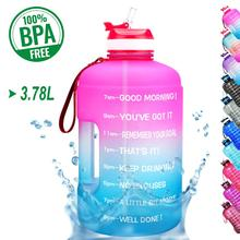 BuildLife 1 Gallon Water Bottle with Straw Time Marker 3.78L 2.2L 1.3L BPA Free Plastic Large Capacity Fitness Sport Waters Jug