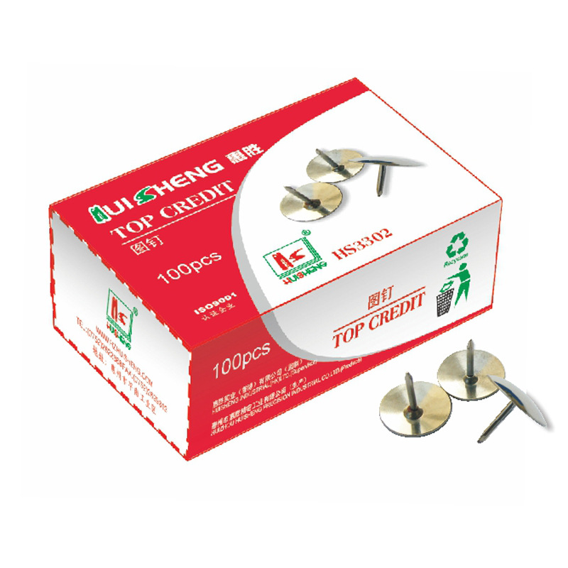 Hatten Pushpin 3302 Large Pushpin Metal Yuan Tou Ding 100-Pack Office Supplies