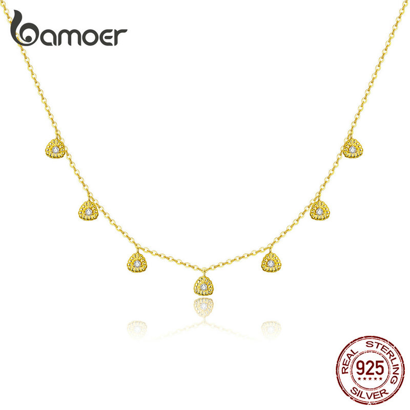 Bamoer Short Choker Necklace 925 Sterling Silver Triangle Chain Necklaces For Women Anti-allergy Luxury Fine Jewelry BSN136