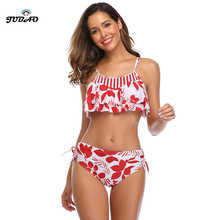 print tow piece bathing suit swimsuit for women bikini crop top tight swimwear red ruched halter sexy beach wear family holiday pineapple print crop halter top