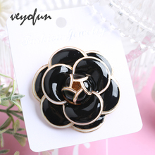 Veyofun 2 Colour Flower Enamel Brooches for Women ZA Fashion Jewelry Pins 2019 New