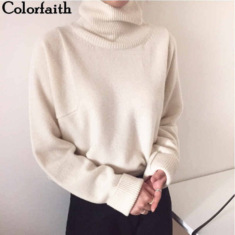 Colorfaith nowy 2019 kobiet jesień zima swetry sweter z golfem stałe minimalistyczny elegancki urząd Lady luźne góra SW7276