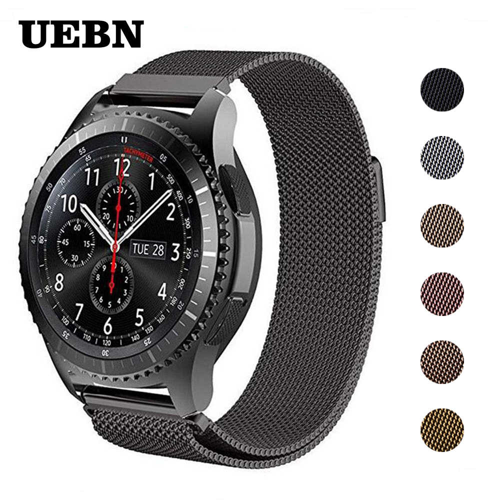 UEBN 22 مللي متر 20 مللي متر Milanese حلقة استبدال حزام (استيك) ساعة للغارمين Vivoactive 3 سامسونج والعتاد S2 S3 نشط 2 الرياضة حزام watchbands