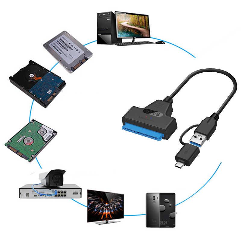 Usb 3.1 sataケーブルsataにUSB3.0 アダプタ 10 まで 5gbpsのサポート 2.5 インチ外部hdd ssdハードドライブコンピュータケーブルコネクタ