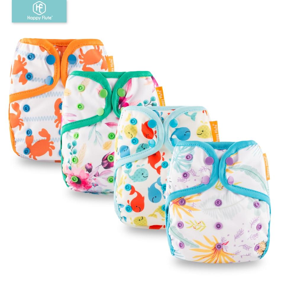 2019 New Design! Happy Flute 1 Pcs Color-edged Diaper Waterproof Cover Eco-friendly Diaper Cover