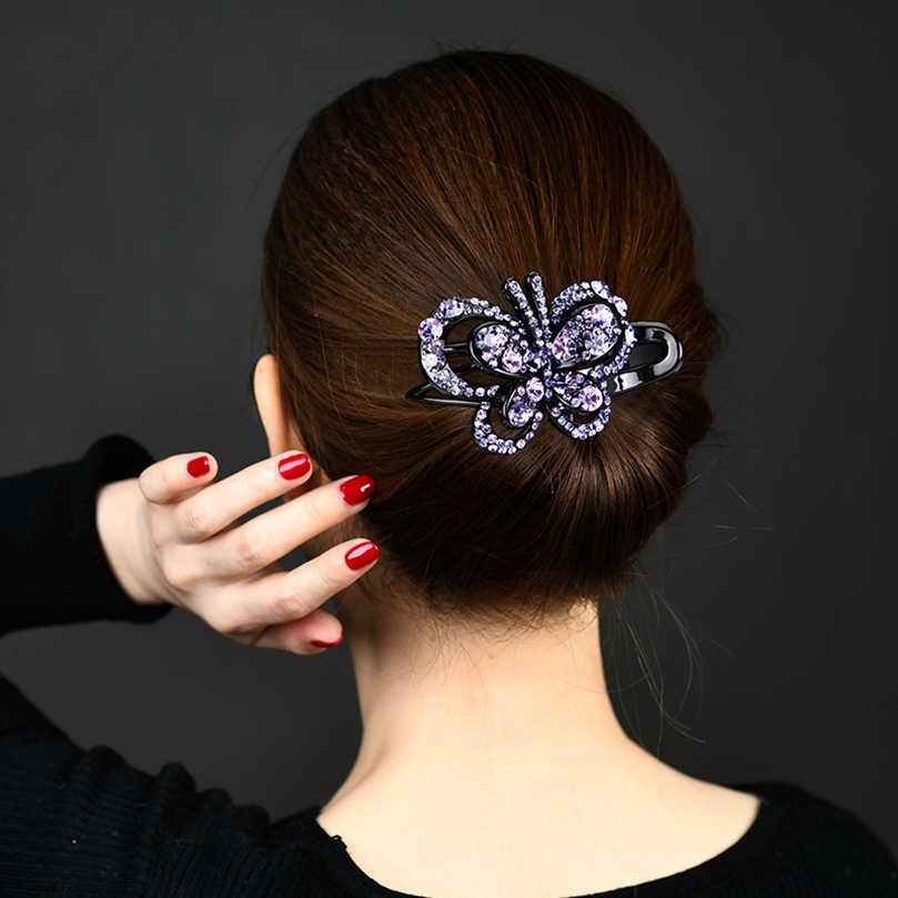 Awaytr Korea Berlian Imitasi Jepit Rambut Wanita Rambut Klip Wanita Elegan Duckbill Klip Manik-manik Hairdryer Fashion Rambut Aksesoris