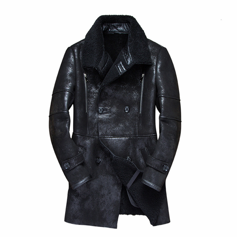 2020 Real Fur Coat Men Sheep Shearing Warm Winter Coat Men Plus Size Wool Jacket For Mens Clothing Veste Homme 7121-1 YY746