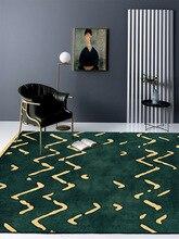 Customize american luxury Green golden abstract ripple bedside carpet bedroom Big floor mat living room crystal velvet