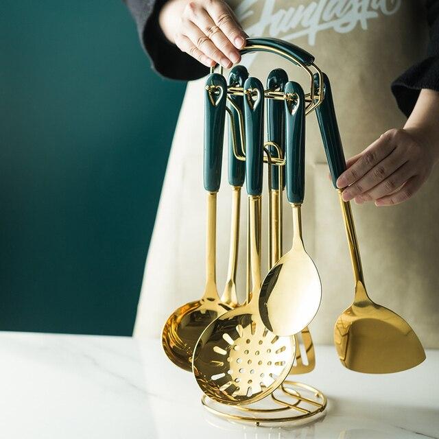 6/7 pcs conjunto de utensílios de cozinha estilo nórdico aço inoxidável utensílios de cozinha acessórios luxo utensílios de cozinha colher de ferramentas especiais 5